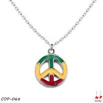 Collier à pendentif peace and love rasta et sa chaine argentée