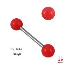 Piercing langue à boules acryliques rouges et barre en acier chirurgical