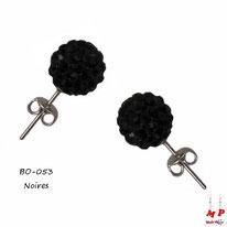 Boucles d'oreilles perles rondes shamballa noires