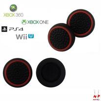 Paire de grips de protection noirs à cercles rouges en silicone pour joysticks de PS3, PS4, Xbox 360, Xbox One et Nintendo Wii U