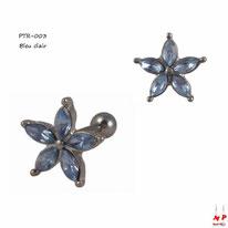 Piercing tragus et cartilage en fleur sertie de strass bleu clair
