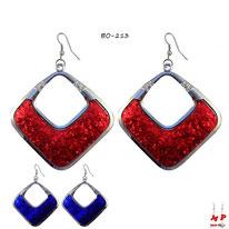 Boucles d'oreilles pendantes carrées argentées à paillettes brillantes 2 couleurs