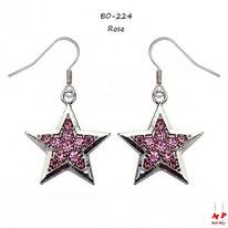 Boucles d'oreilles pendantes étoiles argentées serties de strass roses