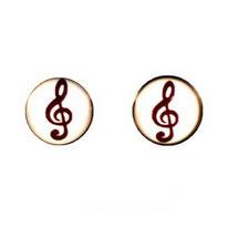 Boucles d'oreilles puces rondes motif clé de sol noire