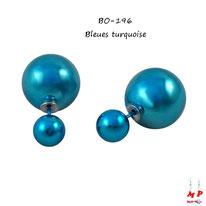 Boucles d'oreilles double perles nacrées bleues turquoise