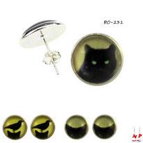 Boucles d'oreilles puces rondes à motifs têtes de chats noires 3 modèles