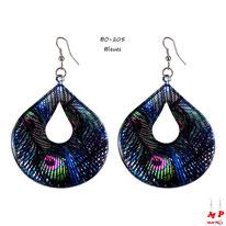 Boucles d'oreilles pendantes ovales motifs plumes de paons bleues