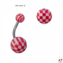 Piercing nombril à boules acryliques échiquiers rouges et blancs