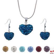 Parure boucles d'oreilles pendantes coeurs shamballa et collier pendentif coeur shamballa bleue bondi