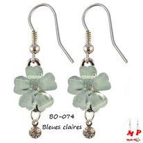 Boucles d'oreilles pendantes fleurs bleues claires