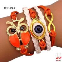 Bracelet infini orange et blanc en similicuir à symboles hibou et oeil doré