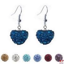 Boucles d'oreilles pendantes coeurs shamballa bleues bondies