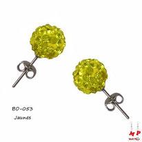 Boucles d'oreilles perles rondes shamballa jaunes