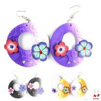 Boucles d'oreilles créoles fleurs 3 couleurs en pâte polymère