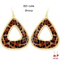 Boucles d'oreilles pendantes créoles léopards brunes et dorées