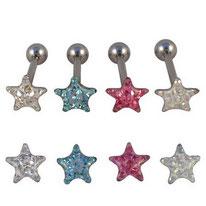 Piercing langue boule étoile à strass sous dôme 4 couleurs
