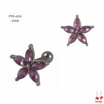 Piercing tragus et cartilage en fleur sertie de strass violets 6mm