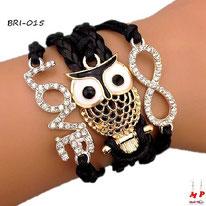 Bracelet infini noir en similicuir et multi-breloques love et hibou