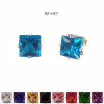 Boucles d'oreilles à strass carrés et griffes argentées 10 couleurs