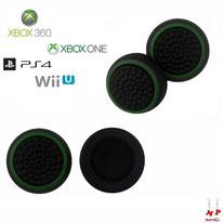 Paire de grips de protection noirs à ronds verts pour joysticks de PS3, PS4, Xbox 360, Xbox One et Nintendo Wii U
