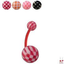 Piercings nombrils bioflex à boules échiquiers