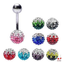 Piercings nombril boules shamballa bicolores 9 couleurs