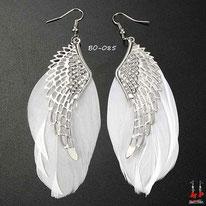 Boucles d'oreilles plumes blanches et ailes argentées