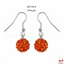 Boucles d'oreilles pendantes shamballa oranges