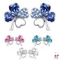 Boucles d'oreilles trèfles à quatre feuilles cristal bleu, rose, ou blanc
