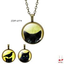 Colliers à pendentifs vintage modèles têtes de chats noirs