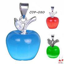 Collier à pendentif pomme bleue, verte ou rouge opale