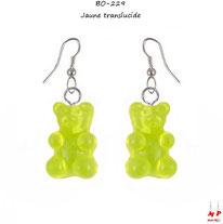 Boucles d'oreilles pendantes à oursons jaunes translucides en acrylique