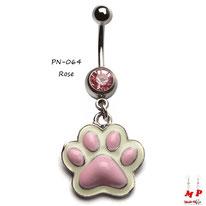 Piercing nombril à strass rose et son pendentif patte de chien rose et blanche