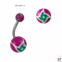 Piercing nombril boules acryliques magenta et hélices vertes