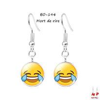 Boucles d'oreilles pendantes emoji émoticônes smiley mort de rire