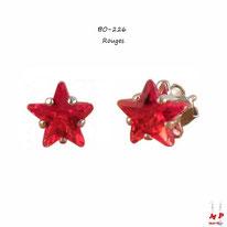 Boucles d'oreilles à étoiles rouges en strass