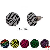 Boucles d'oreilles motifs zébrés blanches, magenta, vertes, jaunes, violettes ou arc en ciel