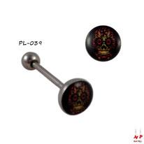 Piercing langue logo tête de mort en acier inox