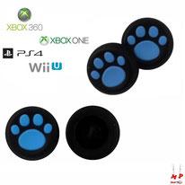 Paire de grips de protection noirs à pattes de chiens bleues en silicone pour joysticks de PS3, PS4, Xbox 360, Xbox One et Nintendo Wii U