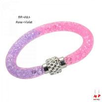 Bracelet stardust rose et violet à strass