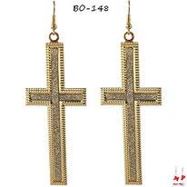 Boucles d'oreilles pendantes grandes croix dorées à paillettes argentées