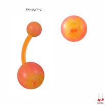 Piercing nombril bioflex à boules acryliques saumons et fleurs oranges