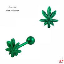 Piercing langue à feuille de cannabis vert turquoise en acier chirurgical