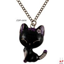 Collier à pendentif chat noir et violet