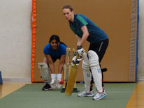 Saphires captain Jennifer Hallam at indoor cricket nets
