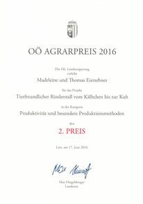 Urkunde Agrarpreis 2016