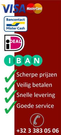 Voor onze Nederlandse klanten is er de mogelijkheid om te betalen via IDEAL