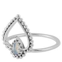 925 sterling zilver ring rainbow moonstone heart