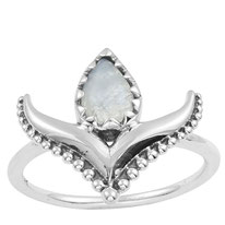 925 sterling zilver Lily ring rainbow moonstone