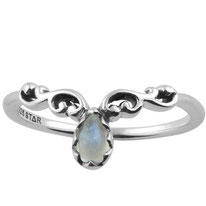 sterling zilver 925 swirly crown ring rainbow moonstone